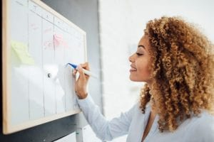 Woman Planning Managed IT On Dry Erase Board