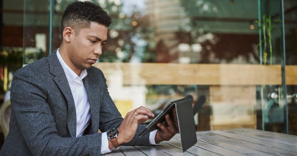 young businessman reviewing email and digital privacy