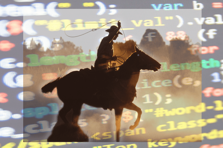 cowboy riding across a sea of data
