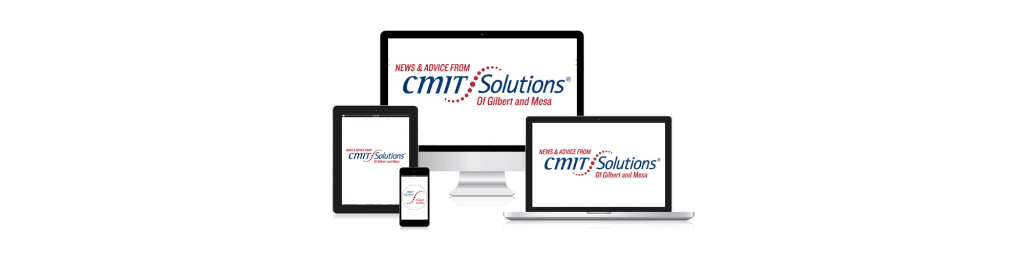 desktop, laptop, tablet, and smart phone screens, all saying News & Advice by CMIT Solutions of Gilbert and Mesa