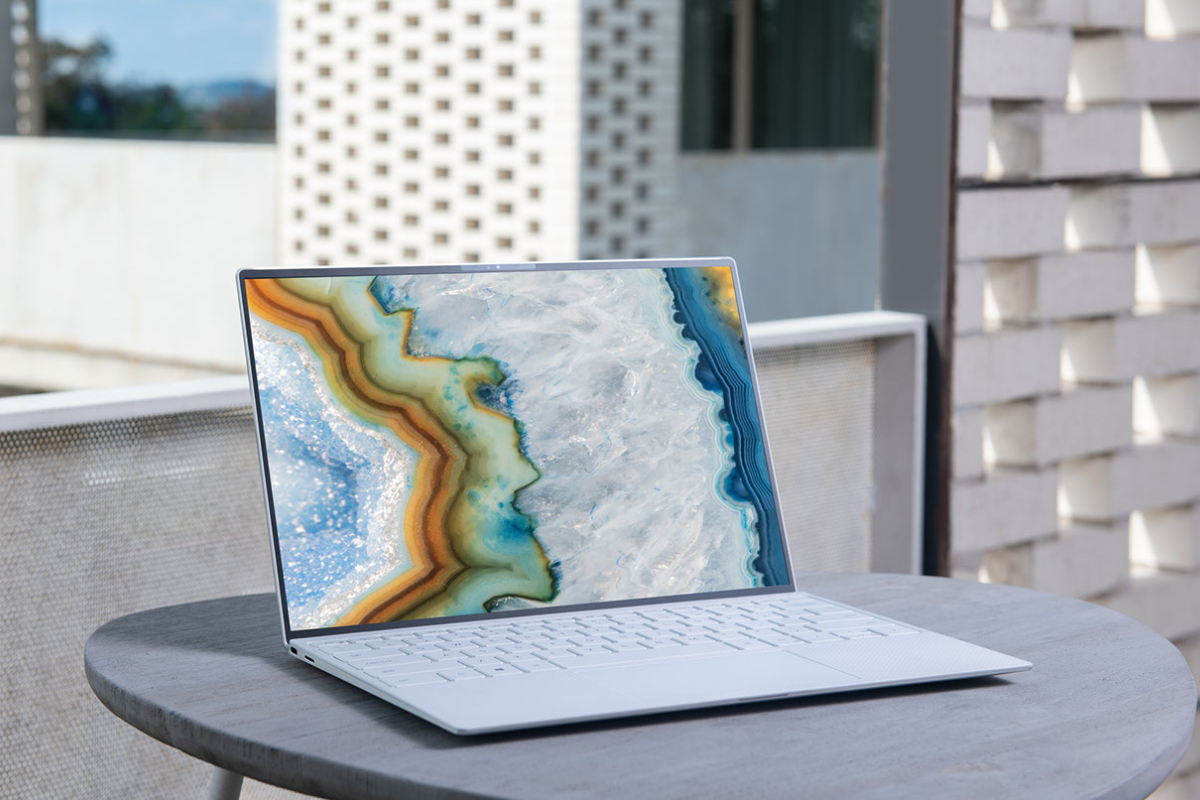 laptop on silver table