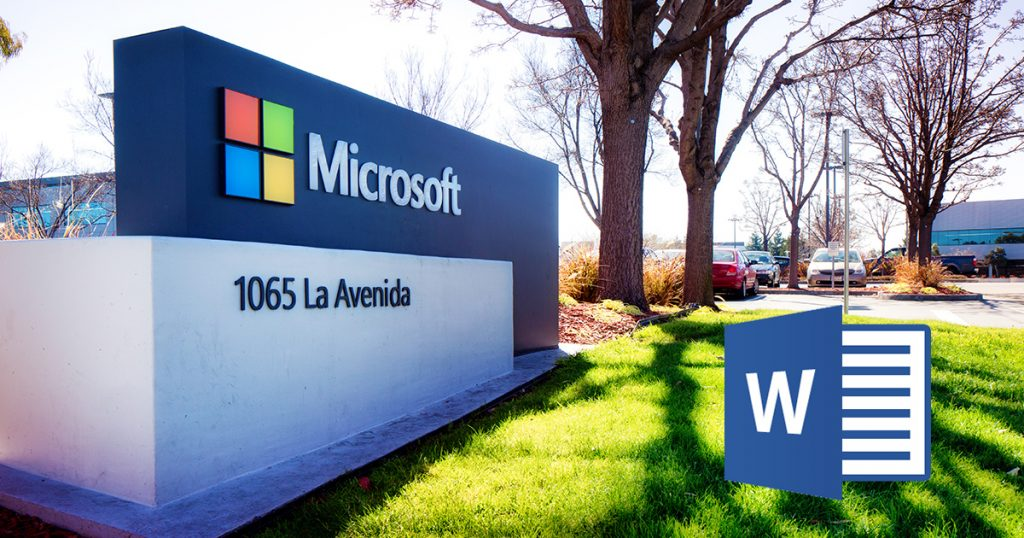 Photo of a Microsoft Campus sign, along with the Microsoft Word logo.