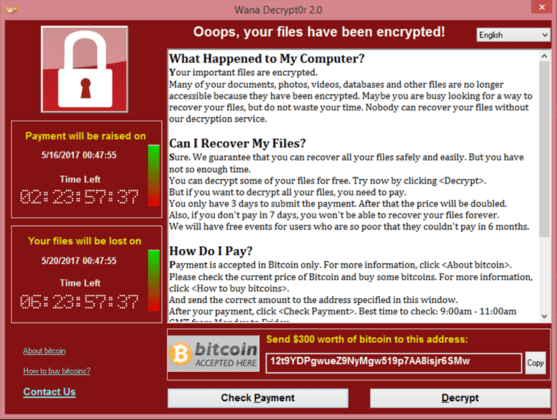 wannacry screen demanding ransomware payment