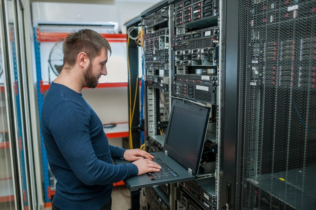 IT guy checking the servers