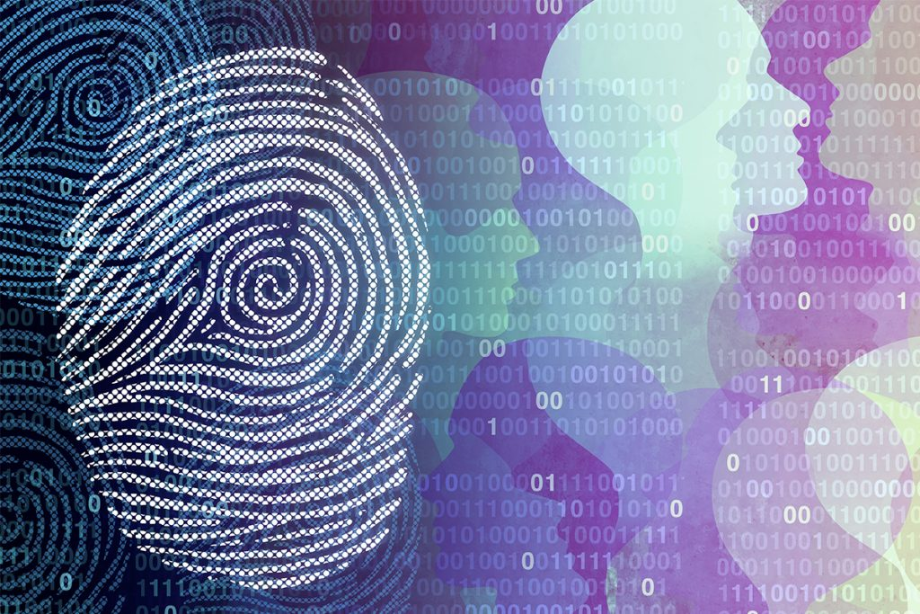 Graphic showing a fingerprint and human silhouettes on a field of 1's and 0's